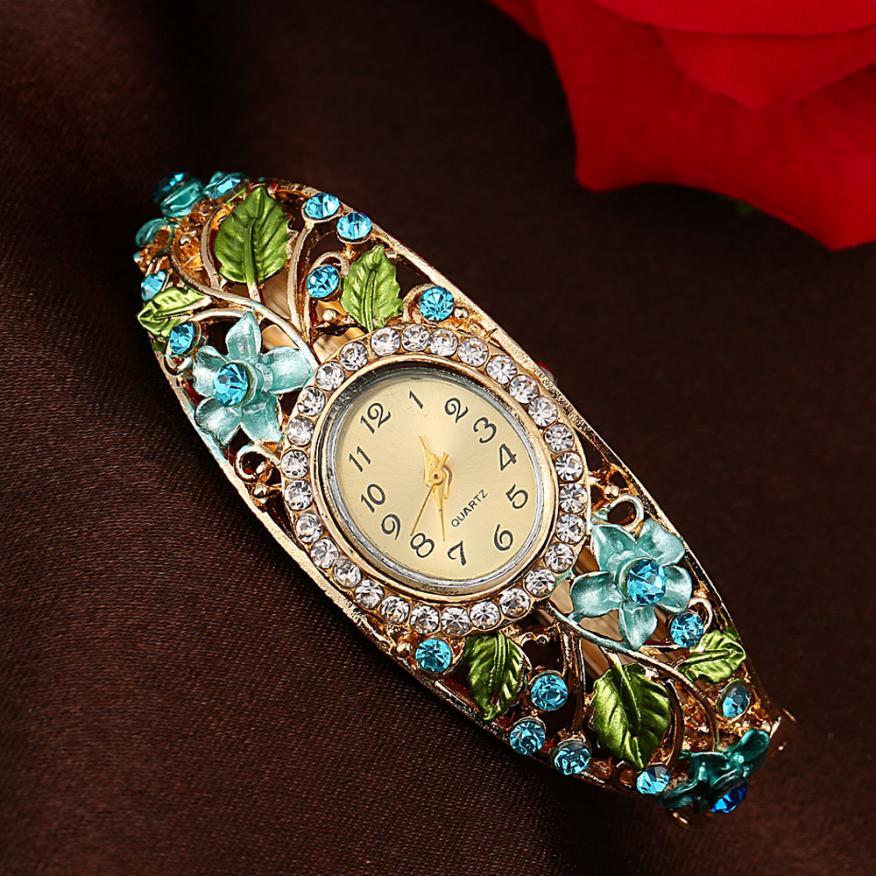 Women reloj de pulsera Bangle Watches Fashion Crystal Flower Bracelet Quartz Watch Elegant Wristwatch creative good quality style reloj de pulsera watches women ladies crystal golden alloy mesh band elegant quartz wrist watches