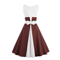 2017 New Vintage Dress Summer Sleeveless Patchwork Style 1950s Dress Black White Women Party Dress Feminino