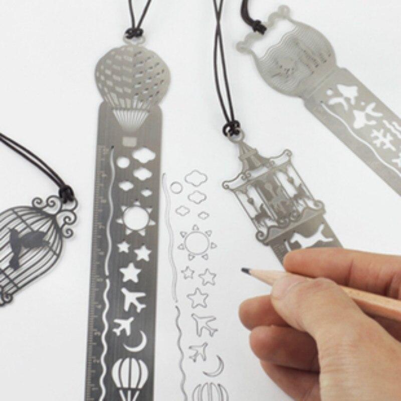Cute Beautiful Fairy Tale Creative Hollow Ultra-thin Metal Ruler Kawaii Bookmark Rulers Student Prizes Korean School Stationery