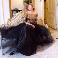 Top Fashion Floor Length Long Black Tulle Skirt Custom Made Fashion Elegant Style Woman Waist Skirts