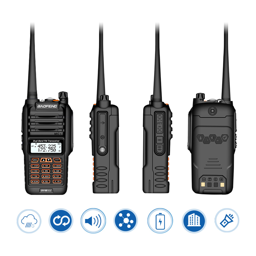 Image 2 - Newest Baofeng UV 9R Plus Walkie Talkie Waterproof 8W UHF VHF Dual Band 136 174/400 520MHz Ham CB Radio FM Transceiver Scanner-in Walkie Talkie from Cellphones & Telecommunications