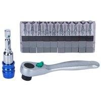 1 4 Ratchet Socket Wrench Screwdriver Bits Set 1 4 Magnetic Holder Hex Shank CRV Slotted