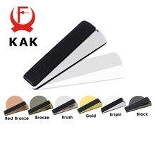 KAK-cale de porte en alliage de Zinc, sans clous, support de porte caché bouchon en caoutchouc, Bronze, or, noir, Chrome brillant, quincaillerie de porte