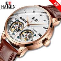 HAIQIN Männer Uhr Mechanische luxus Business uhr Frosted Tourbillon 50m Wasserdichte Männliche armbanduhr Reloj Mecanico de hombres