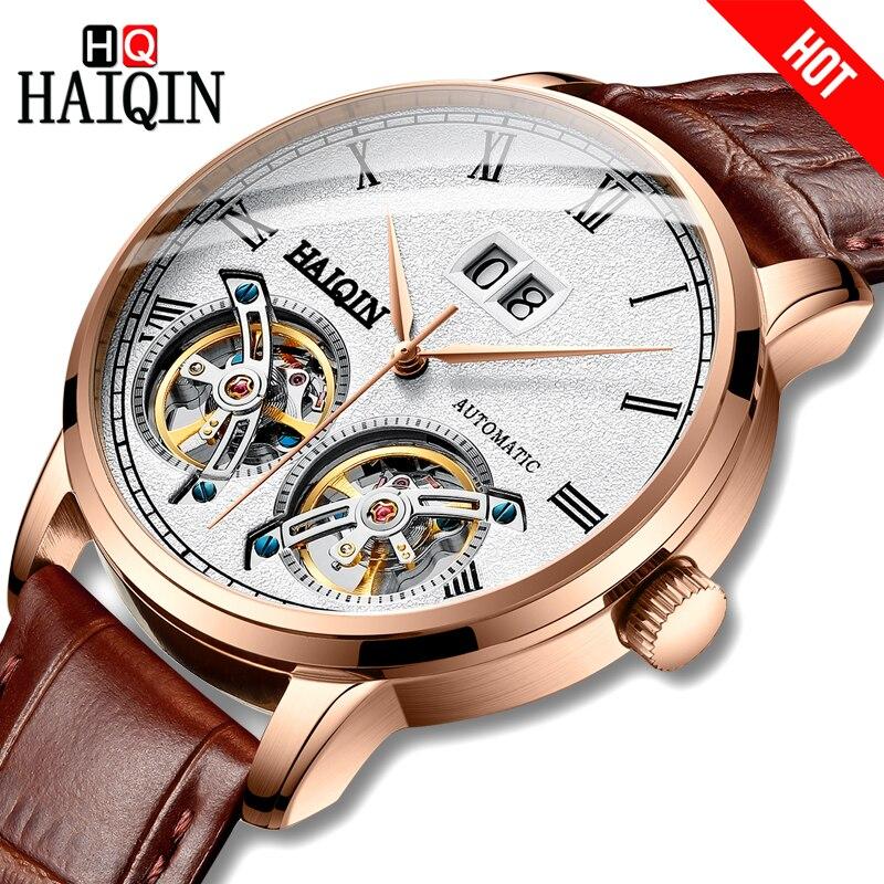 HAIQIN hombres Reloj mecánico de negocio Reloj de Tourbillon 50m impermeable hombre muñeca Reloj Mecanico de hombres