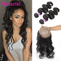 Pre Plucked 360 Body Wave Frontal Closure With 2 Bundles Brazilian Body Wave Cheap 7a Brazilian Virgin Hair With Lace Frontal