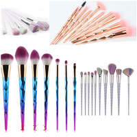 Unicorn Makeup Brush Rainbow Hair Diamond Cosmetic Makeup Brushes Set Foundation Eyeshadow Blusher Powder Blending Make