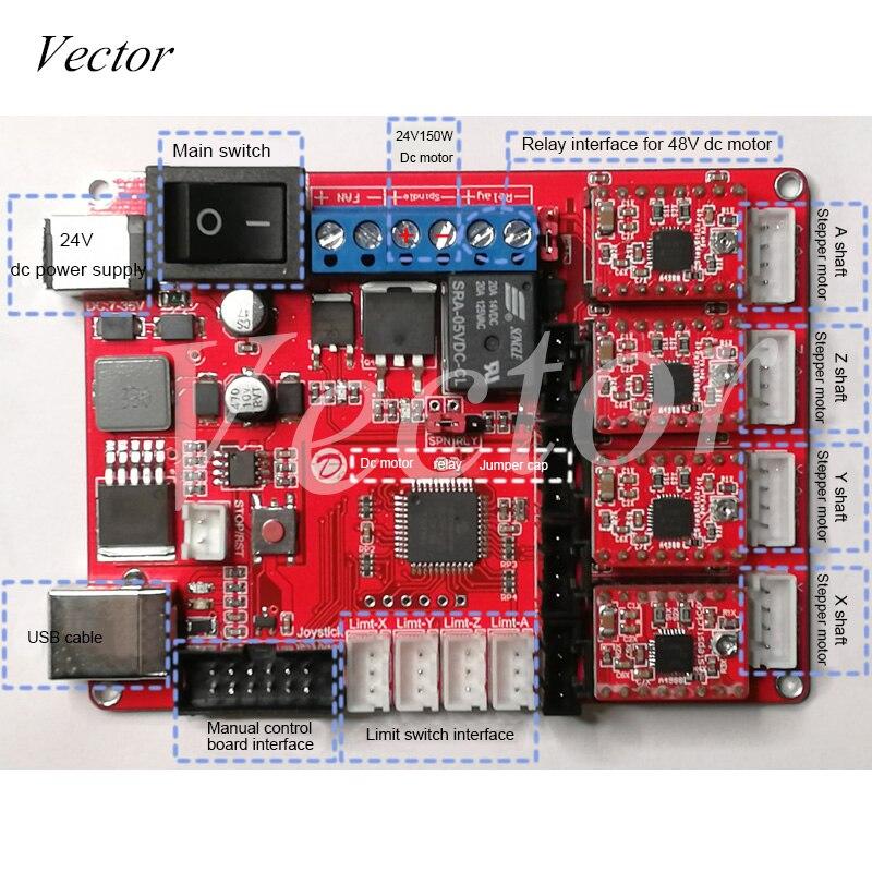 CNCUSB Controller 4 axis Engraving Machine Control Board Laser Engraving Machine Motherboard Engraving Machine Control