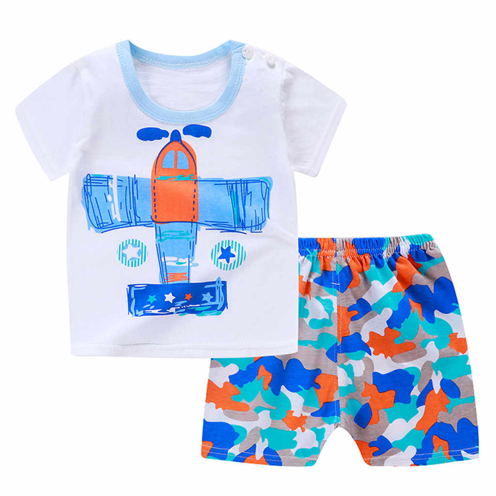 Kualitas Tinggi Baru Lahir Bayi Anak Laki-laki Anak Perempuan Lengan Pendek Kartun Baju Atasan + Celana Pakaian Set Pakaian Musim Panas Roupa Laki Laki baru
