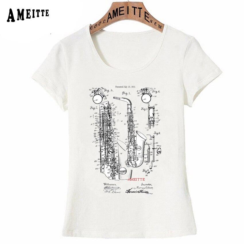 947a6fea Vintage Jazz Saxophone Patent Print T-Shirt Summer Fashion Women T-Shirt  Cute Girl