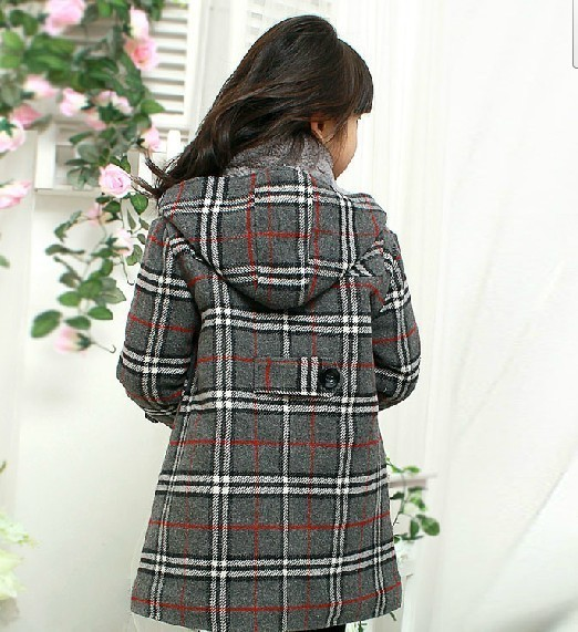 Autumn and winter cotton-padded thick plaid top outerwear woolen overcoat female child wool trench coat child