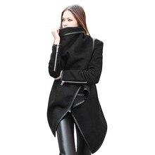 Autumn Winter Jackets For Women Coat Female Woolen Overcoat Fashion Zipper  Woolen Long sleeve Coat Black