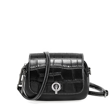 Novel unique famous brand women messenger bags new first layer cowhide crocodile pattern crossbody flip small round bag
