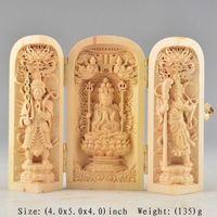 BOXWOOD PURELY HANDWORK CARVED BUDDHA PRAYER AMULET BOX EXORCISM STATUE NR wooden handicraft