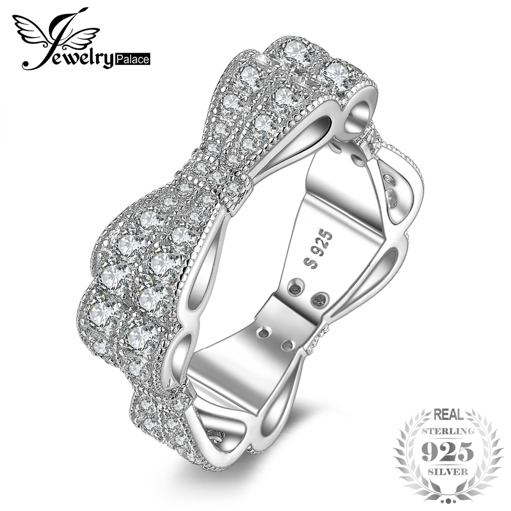 JewelryPalace Cubic Zirconia Princess Ribbon Bowknots Promise Ring Wedding Band 925 Sterling Silver Jewelry For WomenJewelryPalace Cubic Zirconia Princess Ribbon Bowknots Promise Ring Wedding Band 925 Sterling Silver Jewelry For Women
