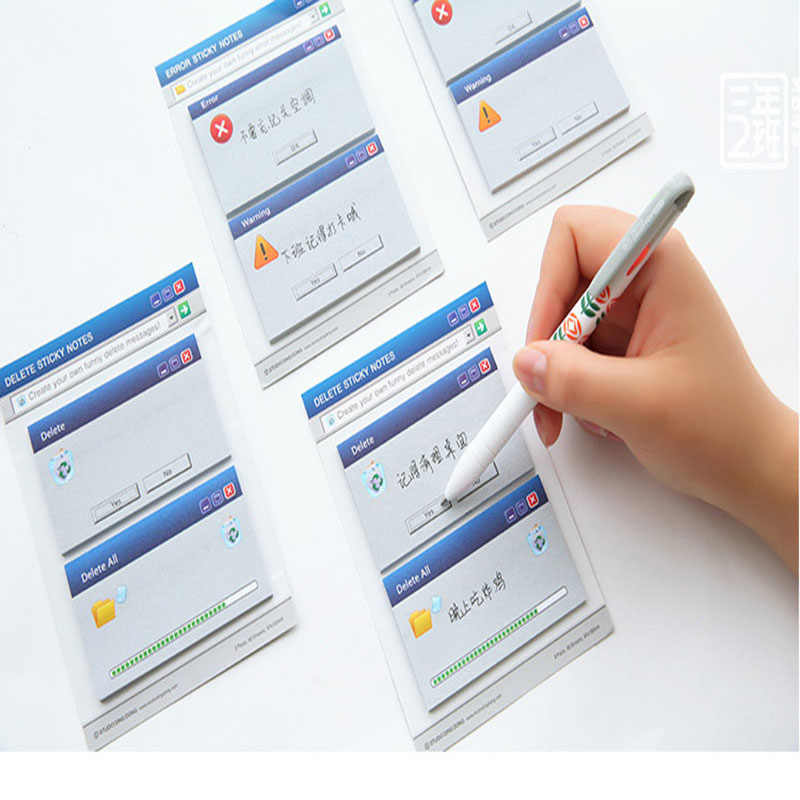 Kawaii Computer Sticky Memo N Time Message Write Self Delete Error Sticker Office Stationery Information Writing Paper Notepad