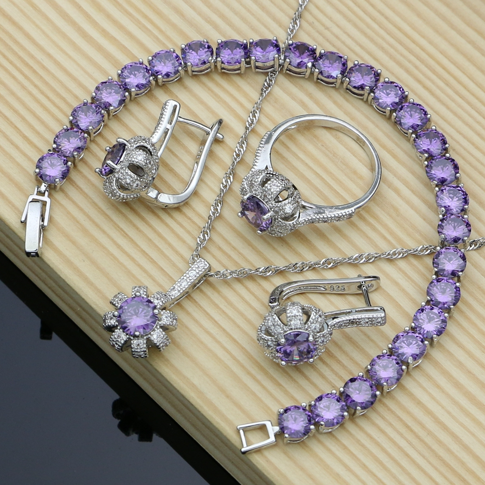 Bridal-Jewelry-Sets Necklace-Set Earrings Rings 925-Sterling-Silver Purple Cubic-Zirconia