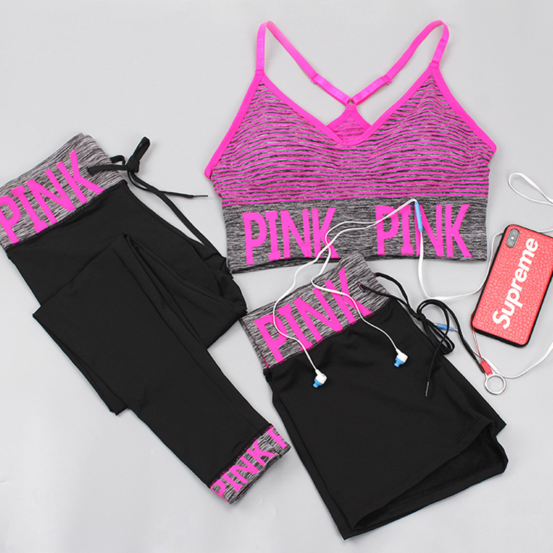 Toppick 3 Piece Women Yoga Sets Pink Letter Sport Wear Women Fitness Sport Bra+Yoga Pants+Shorts Sport Set Workout Gym Clothing