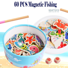 Wooden Magnetic Fishing Toy Game Baby Educational Toys Outdoor Fun Kids Toy Birthday Christmas Gifts For Children baby educational toys thick magnetic wooden fishing pole game for kids 9pcs ocean fish fun jigsaw board birthday christmas gift
