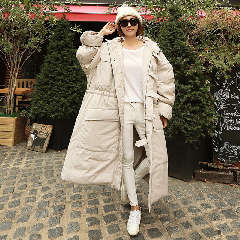 LANMREM 19 Winter New Fashion Women Loose Plus Casual Knee Thicker Hooded Down Jacket TC213 21