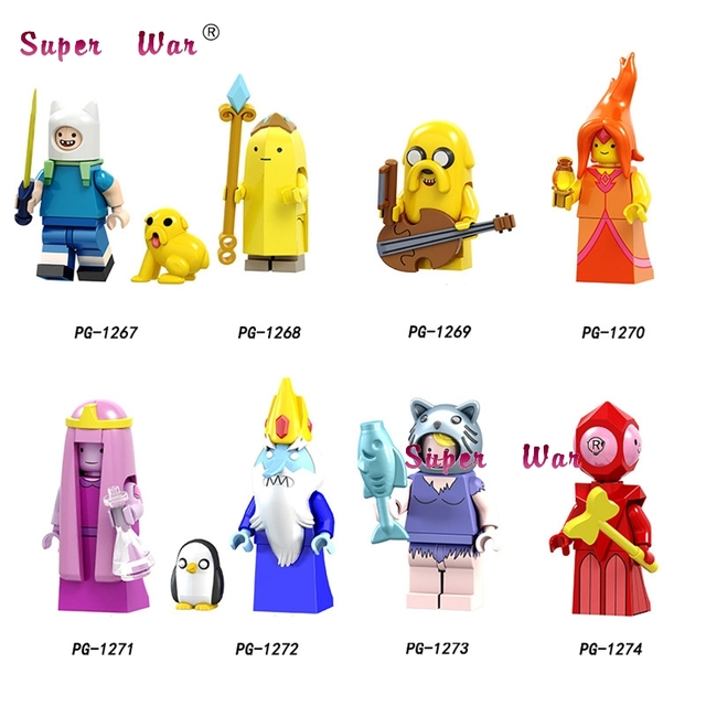 Single Cartoon movie Adventure time Finn Banana guard Jack Flame princess  Party Figure building block toys for children