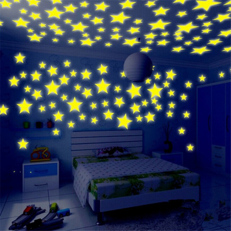 Glow wall stickers 100pcs lot decal baby kids bedroom home for Stars decorations for home