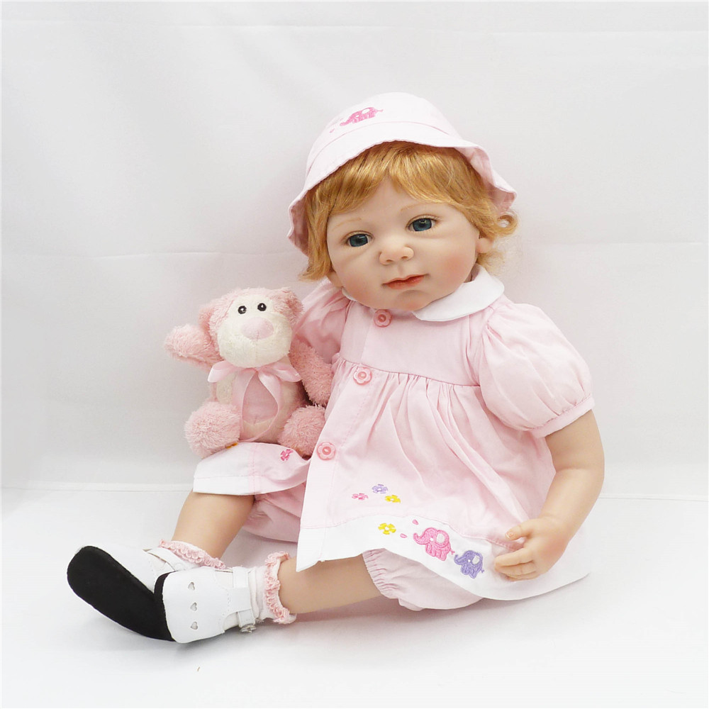 20 inch 50 cm Beautiful pink dress adorable doll Festival gift birthday gift : 91lifestyle