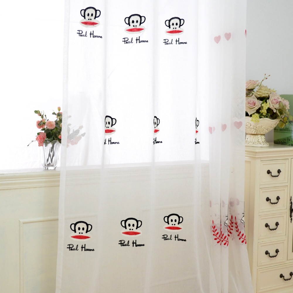 high quality cartoon monkey embroidered curtain grommet top tab top pull pleated tape rod pocket
