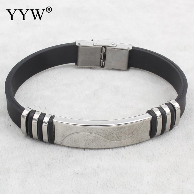 YYW Silvercolor Cuff Bracelet Bangle Punk Men Jewelry Stainless Steel Black Genuine Silicone Bracelets Bangles