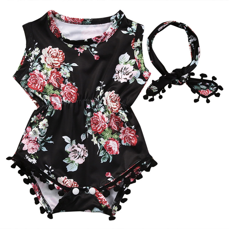 Cute Adorable Floral Romper Baby Girls Sleeveless Tassels Romper One-pieces +Headband Sunsuit Outfit Clothes 0-6 Months Black