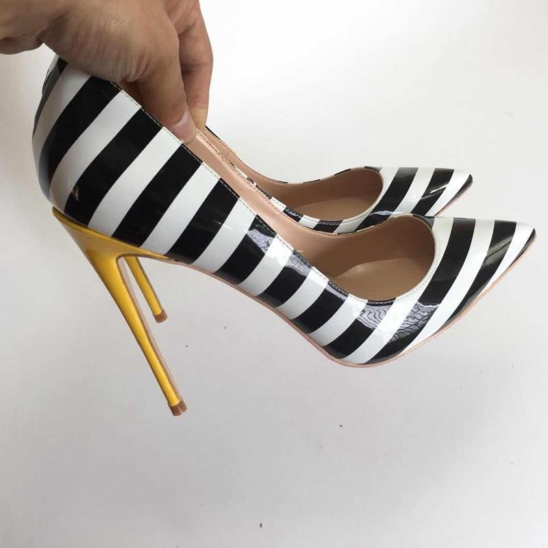 2018 nowa zebra kolor damskie buty na wysokim obcasie buty OL proste dzikie damskie buty na wysokim obcasie pompy mieszane kolor buty płytkie moda damskie buty w Buty damskie na słupku od Buty na  Grupa 3