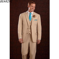 2017 classic groom tuxedo for men khaki wedding suits 3 piece suit wool bleed custom made suit