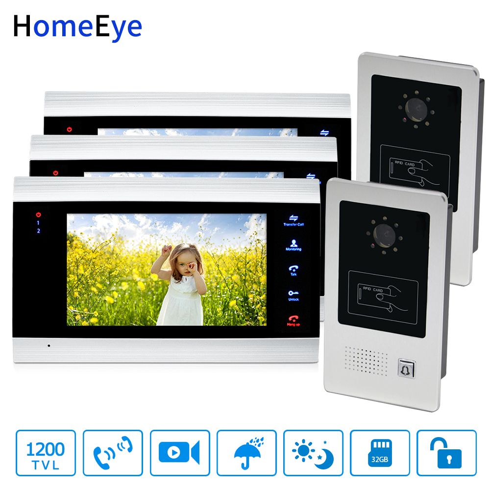 HomeEye 7'' Video Door Phone Video Door Bell Home Access Control System 2-3 1200TVL Rainproof RFID Voice Message Night Vision