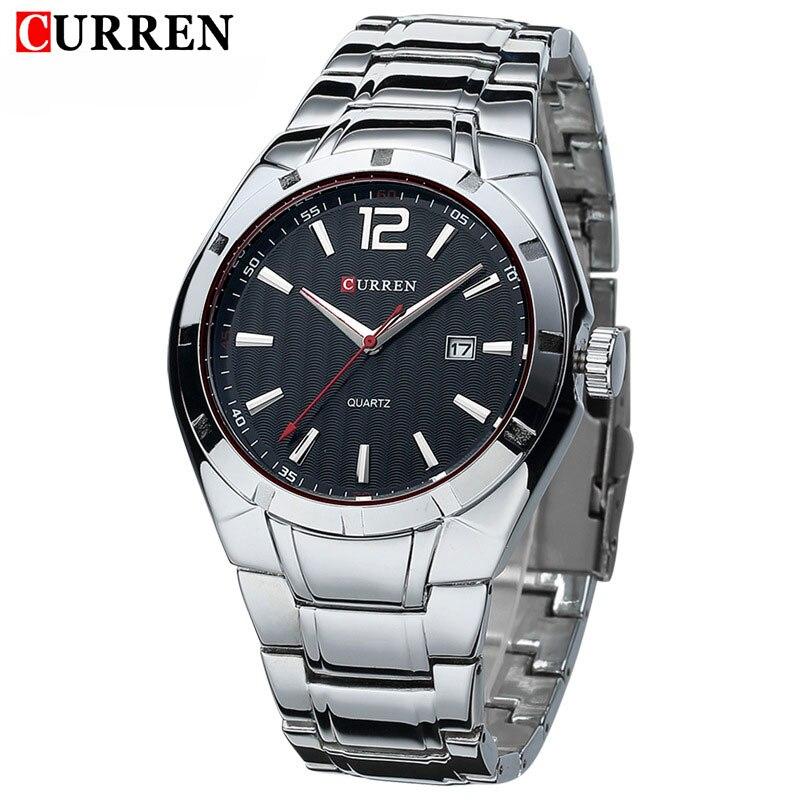 Где купить Модные деловые кварцевые часы CURREN, спортивные водонепроницаемые наручные часы из стали с отображением даты, хит продаж