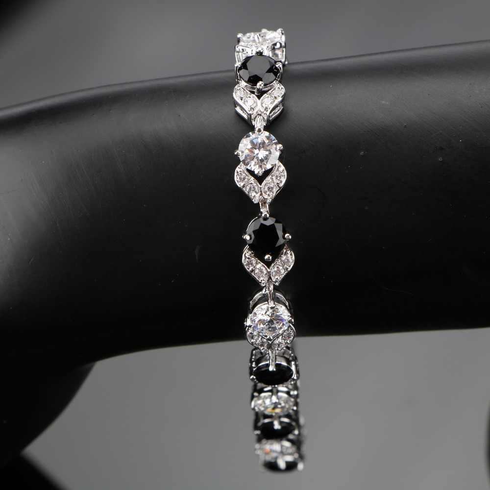 925スターリングシルバー18 + 2センチメートルレディースラウンドブラックホワイト宝石ブレスレットスリヴァー925ジュエリー女性のための送料ギフトボックス