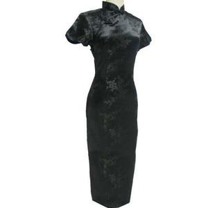 Image 2 - Black Red Traditional Chinese Dress Womens Satin Long Cheongsam Qipao Flower Size S M L XL XXL XXXL 4XL 5XL 6XL
