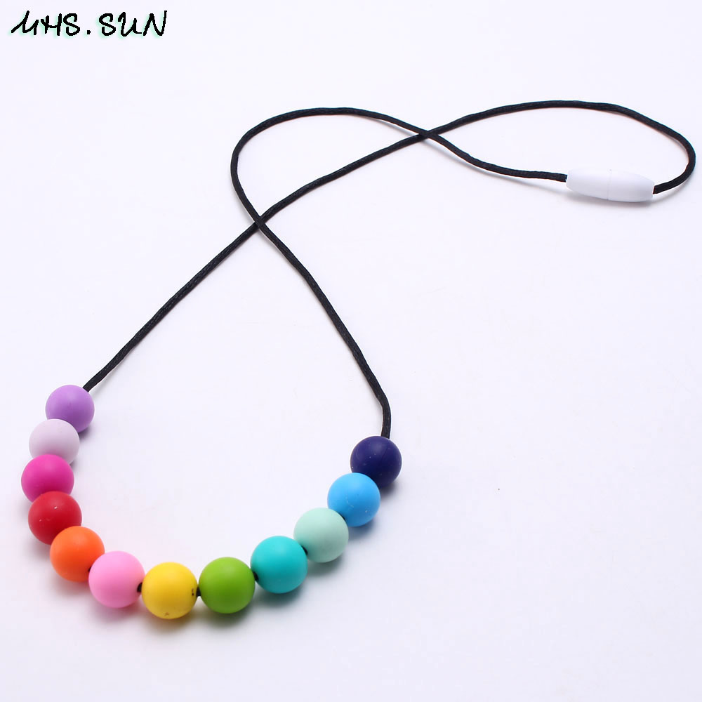 Silicone beads baby teething chewable necklace feather pendant baby teether FG