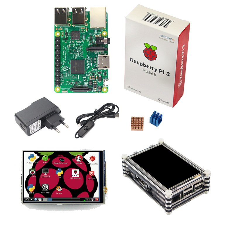 Raspberry Pi 3 Starter Kit Original Raspberry Pi 3 + 3.5 inch Touchscreen + 9-layer Acrylic Case + 2.5A Power Plug + Heat Sink original 1gb ras pi 3 kit raspberry pi 3 model b board acrylic case cooling fan sic heat sink 5v2 5a power charger 2 4g keyboard