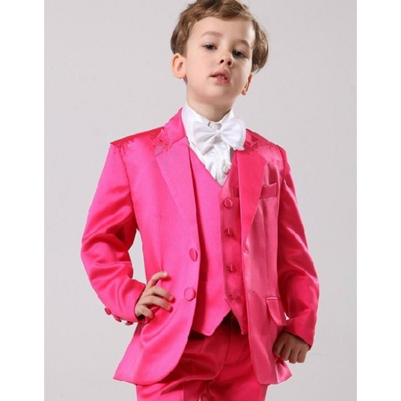 Pink 2 Piece Wedding Kids Suit Slim Flower Boys Children Formal Prom Party Suits
