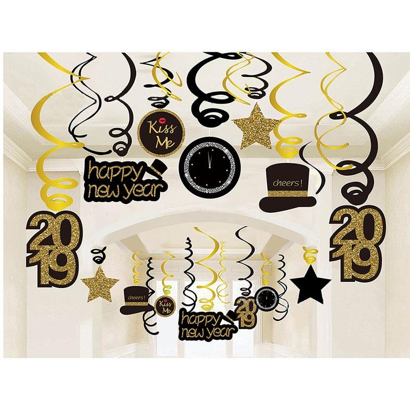 Galleria fotografica 30 pz Felice Anno Nuovo Soffitto Appeso Swirl 2019 Capodanno Festa Di Natale Decorazioni per la Casa A Spirale Banner Navidad del pendente