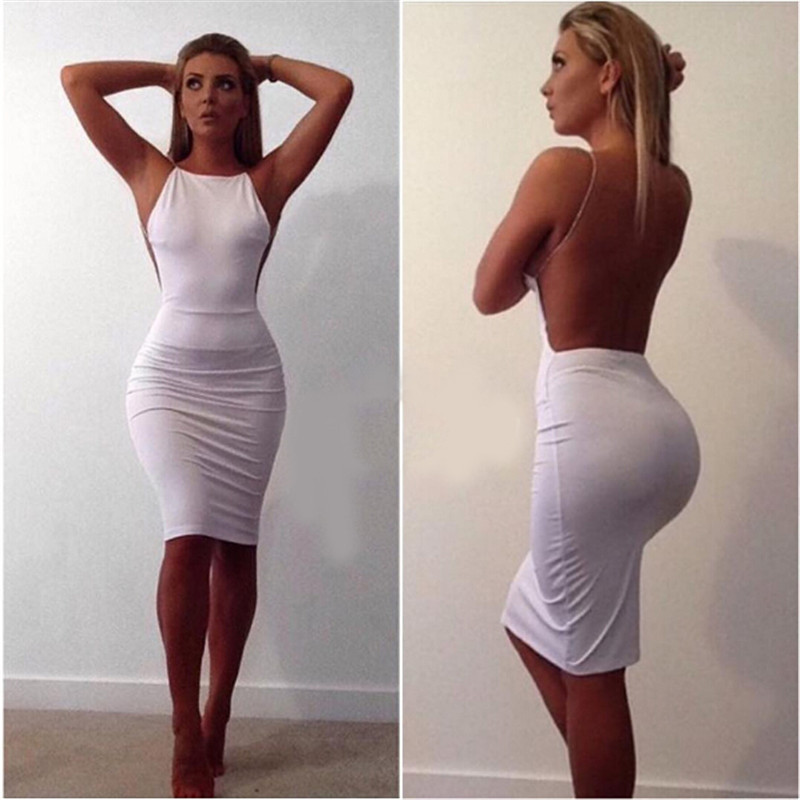 b0f56997223 White Sexy Party Dresses Women Night Club dress backless Summer Dress  Spaghetti Strap Bodycon Dress Vestidos