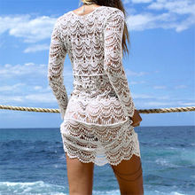 Crochet Summer Beach Dress Cover Up Sexy Hollow Out Mesh Knitted Tunic Swimsuit Coverup Womens Beach Sarong Robe De Plage A33