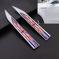 2 Pcs ENGLAND UK Flag Badge Fender Side Wing Emblem Decals Sticker 100 Metal