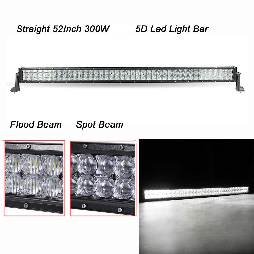 все цены на  Straight 288W 5D LED Light Bar Flood Spot Combo Beam for 12v 24v off road 4X4 ATV 4WD SUV UTE with Mounting Brackets  онлайн