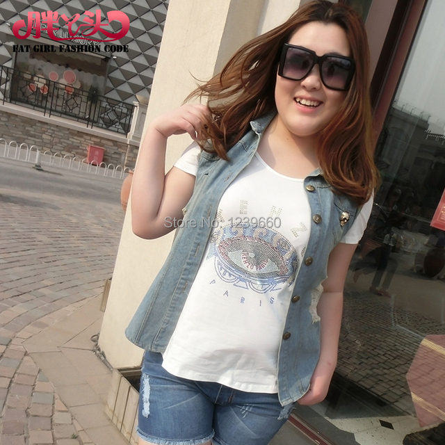 c5f6d2a2c68 Fat girl 2014 summer new large size women s European and American street  fashion fabulous denim vest cardigan 2751