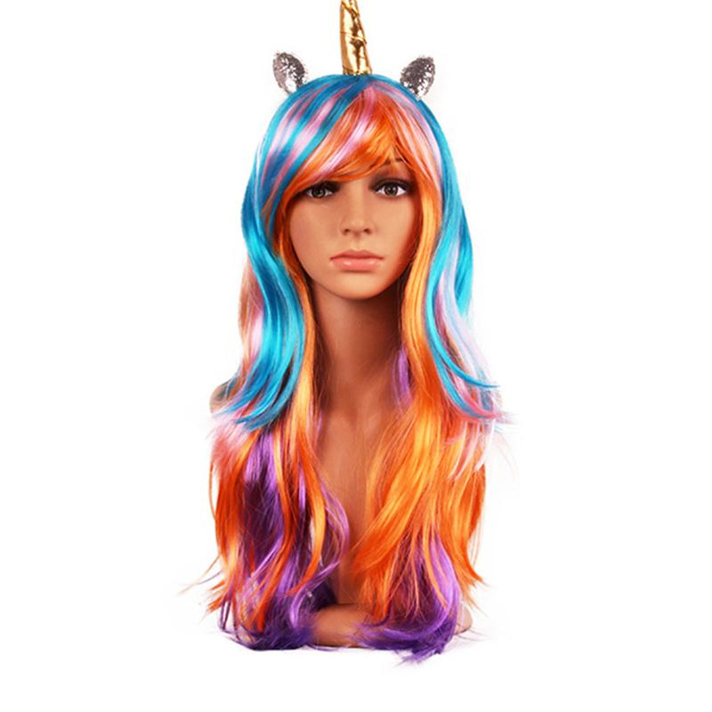 Adults Women Costumes Hair Long Curly Hair Anime Character Halloween Fancy Unicorn Gothi ...