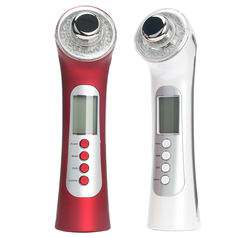 5 in 1 Rechargeable Galvanic Facial Skin Beauty Home Spa Led Light Photon Therapy Ultrasonic High
