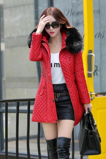 autumn and winter PU water washed leather clothing female medium-long plus size female slim trench outerwear plus cotton 4