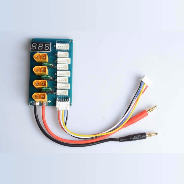 AKK XT60 Parallel Charging Board/Charge Plate for 3S 4S Lipo Battery with Voltage LED Display/Banana Plug Input