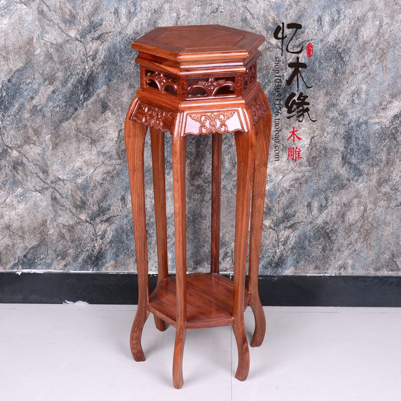 купить Mahogany wood flower Chinese living room a few self-contained frame rosewood classical flower bonsai flower floor. недорого